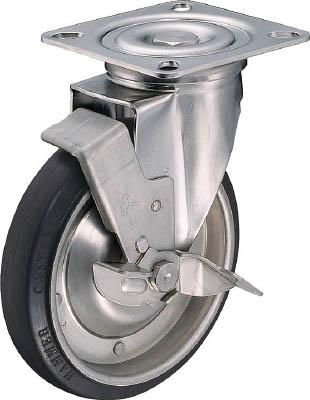 ハンマー Sシリーズオールステンレス自在SP付ゴム車200mm【319S-RB200-BAR01】(キャスター・プレート式ゴム車)