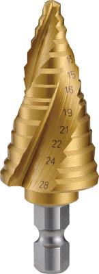 TRUSCO ステップドリル 3枚刃チタンコーティング 5~28mm 段数11【3S-NMS-28G】(穴あけ工具・ステップドリル)