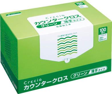 クレシア カウンタークロス 薄手タイプ グリーン【65412】(労働衛生用品・食品衛生用品)