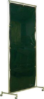 吉野 遮光フェンスアルミパイプ 1×2 単体キャスター グリーン【YS-12SC-G】(溶接用品・溶接遮光フェンス)