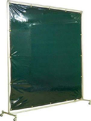 吉野 遮光フェンスアルミパイプ 2×2 単体キャスター グリーン【YS-22SC-G】(溶接用品・溶接遮光フェンス)