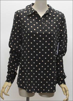 エキプモン 2013SSAdele Cherie Dot Printed ラウンドカラー×ドットプリント シルクブラウス とろみシャツ ブラック ヌードピンクQ332 E320 black nudeCBsrtQdxh