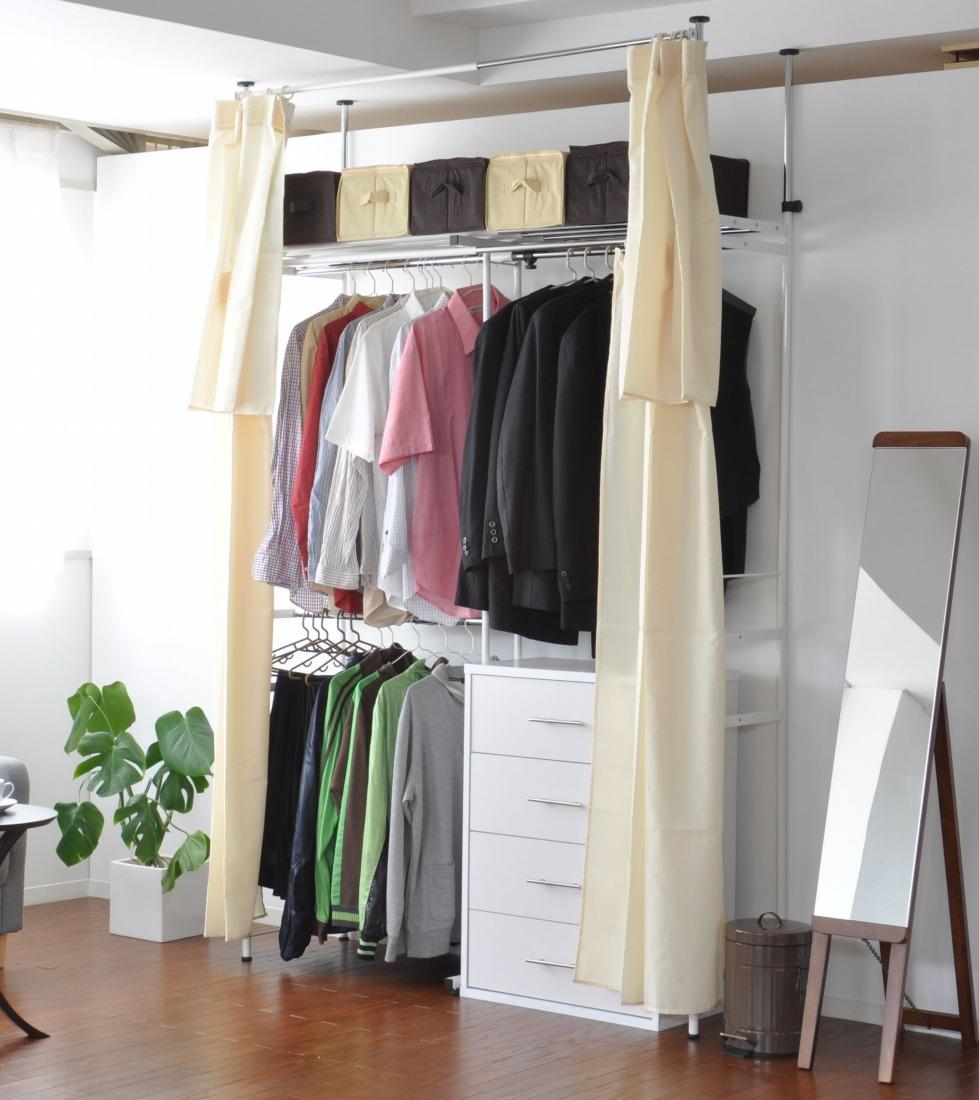 送料無料 時間指定不可 クローゼットハンガー 棚付 伸縮式 つっぱり式 クローゼット 2段 突っ張り式 物品 スリムタイプ 洋服 つっぱり棚 ワードローブ 代引不可 クローゼット収納 幅90~148.5cm カーテン付き
