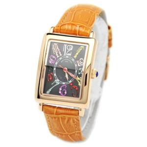 pierretalamon ピエールタラモン 腕時計 レディースウォッチ レクタンギュラー カラフルインデックス ジルコニアウォッチ セイコームーブ ブラックxオレンジ PT-9500L-4