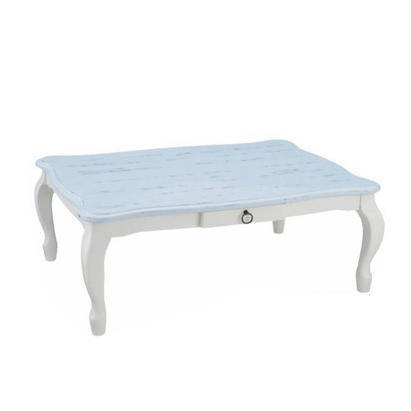 送料無料 ユアサプライムス こたつ 猫脚 キャサリン105 BL ブルー 105×75cm 姫 テーブル 代引不可 コタツ 部屋 記念日 ねこあし