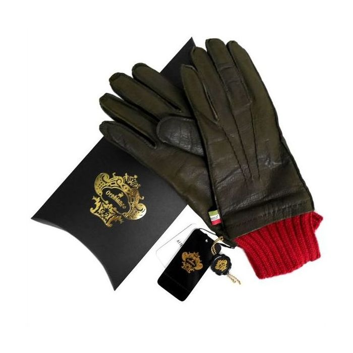 OROBIANCO オロビアンコ メンズ手袋 ORM-1405 Leather glove 羊革 ウール KHAKI サイズ:8(23cm) ギフト プレゼント クリスマス【送料無料】