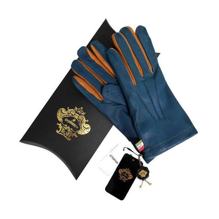 OROBIANCO オロビアンコ メンズ手袋 ORM-1406 Leather glove 羊革 ウール BLUE サイズ:8(23cm) ギフト プレゼント クリスマス【送料無料】