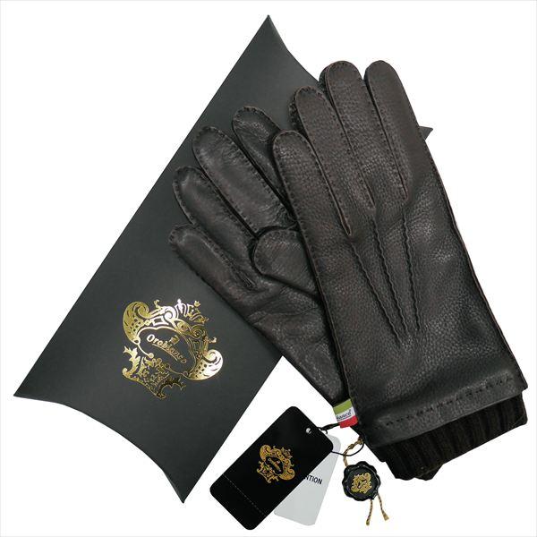 OROBIANCO オロビアンコ メンズ手袋 ORM-1413 Leather glove 鹿革 ウール DARKBROWN サイズ:8(23cm) プレゼント クリスマス【送料無料】
