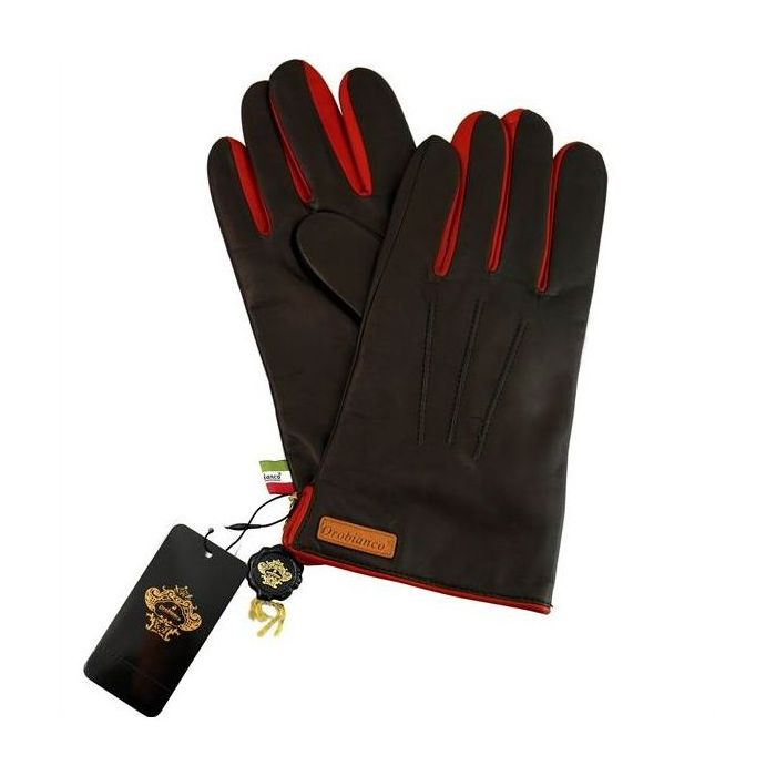 OROBIANCO オロビアンコ メンズ手袋 ORM-1530 Leather glove 羊革 ウール D.BROWN RED 8(23cm) 手袋 プレゼント クリスマス【送料無料】