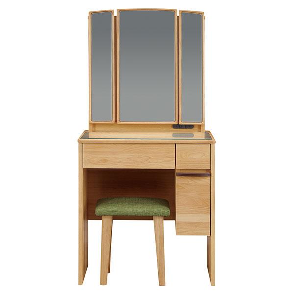 ドレッサーデスク 三面鏡 収納 化粧台 幅65cm 椅子付き コンパクト メイク台 収納ボックス 引き出し 鏡台(代引不可)【送料無料】