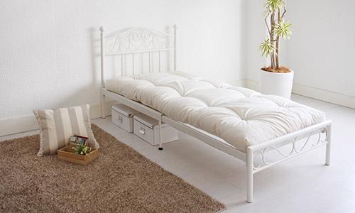 ベッド シングル マットレス付き アイアン伸長式ベッド COCO ココ 専用 シングル(代引不可)【送料無料】