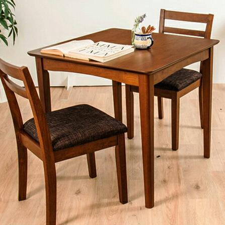 ダイニングテーブル 3点セット ダイニングセット 木製 北欧 幅75cm 正方形 ダイニングチェア2脚 木目 ウォールナット 食卓用(代引不可)【送料無料】【S1】