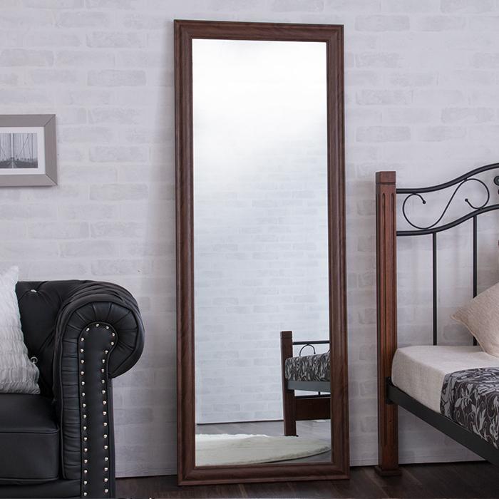 鏡 ミラー 全身 姿見 アンティーク調大型ミラーW60 ホワイト ブラウン ライトブラウン 幅60ビッグミラー 全身鏡 壁掛け(代引不可)
