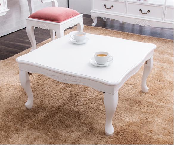 折り畳み猫脚テーブル 約75×75 リビングテーブル ローテーブル 折りたたみ式テーブル 猫足 アンティークスタイル(代引不可)【送料無料】