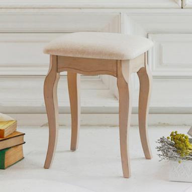 木製スツール 布張り 1人掛け アンティークシャビーシック 〔B〕イス いす シシリー 椅子 チェア 1人用 背もたれなし クッション(代引不可)【送料無料】【S1】