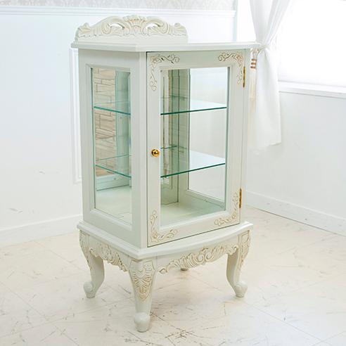 アンティーク調ガラスキャビネット 猫脚プリンセスシリーズ ディスプレイ収納飾り棚 収納家具 ホワイトウッド アイボリー 姫系(代引不可)【送料無料】