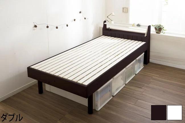 すのこベッド カントリー調 ダブル ダブルベッド ベッド すのこベッド スノコベッド ベット おしゃれ 桐(代引不可)【送料無料】