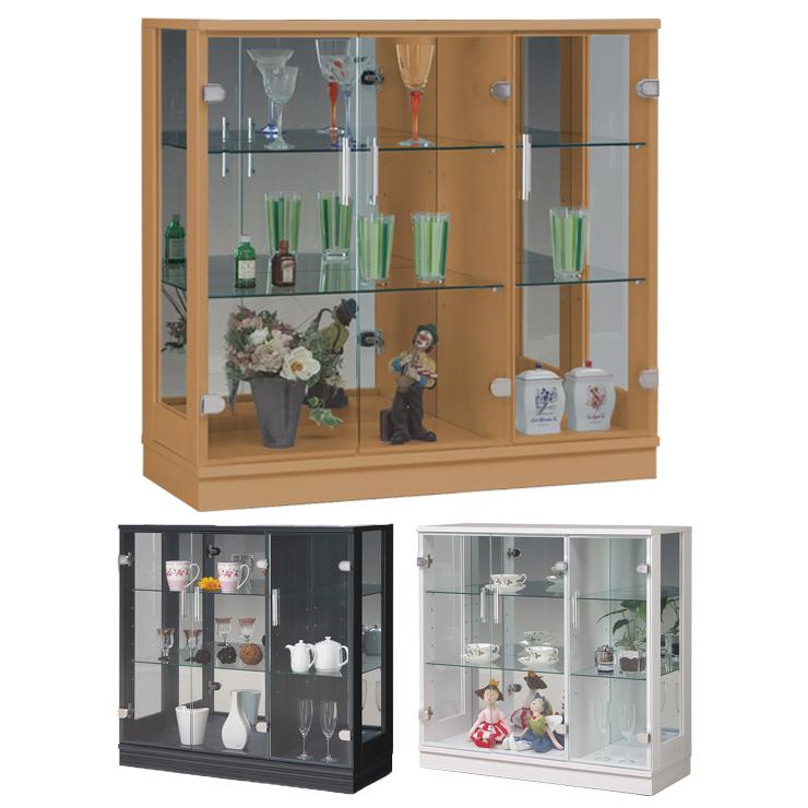 コレクションケース幅90 高さ86 完成品 リビングボード コレクションボード 飾り棚 ガラス棚 ショーケース リビングボード(代引不可)【送料無料】