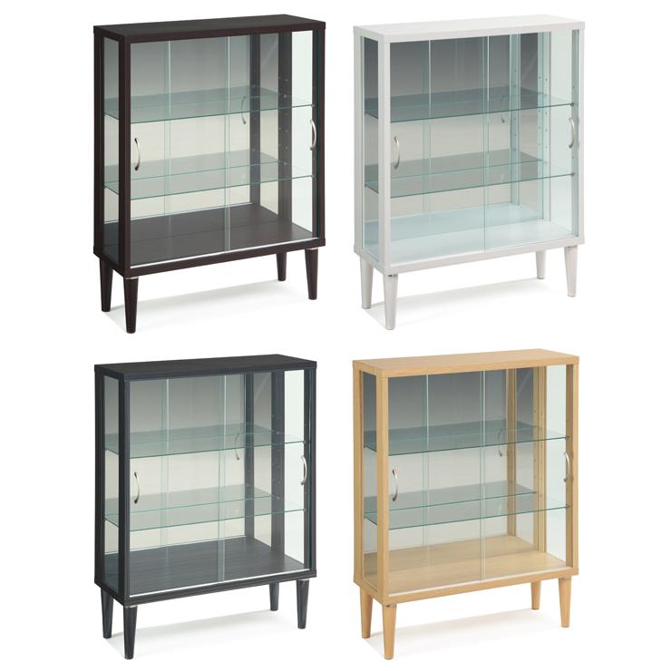 コレクションケース 幅75 高さ100 完成品 脚付き リビングボード 脚つき コレクションボード 飾り棚 ガラス棚 ショーケース (代引不可)【送料無料】