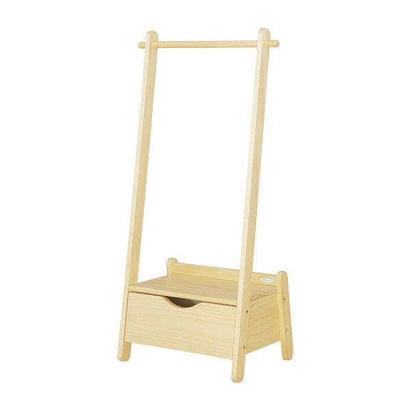 木製 キッズ用 ハンガーラック アクティーボ ハンガーラック 丸棒高さ2段階調整可能 引き出し付き パイン材 衣類収納(代引不可)【送料無料】