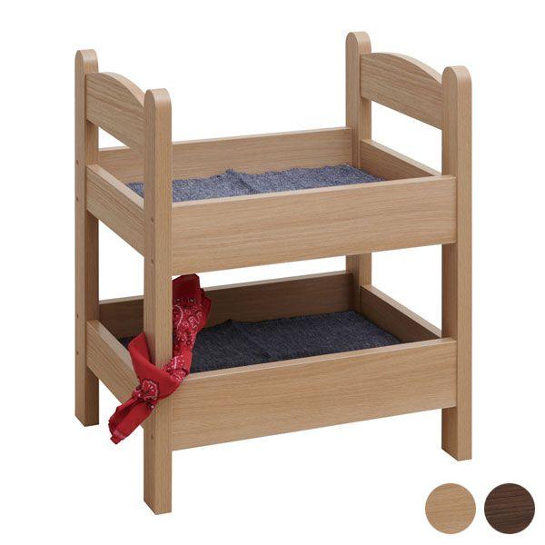 ペット ベッド(代引不可)【送料無料】 木製ベッド ペットベッド ペット用 ※底板無しでも使用可能 はしご付き 2段 虫除けバンダナ付