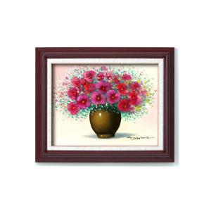 11615 桑山茂 油絵額F6 「赤い花」【送料無料】