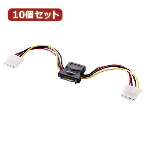 【10個セット】 サンワサプライ 2股電源ケーブル(10cm) TK-PWSATA4-01X10(代引不可)