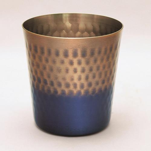 王輝 銅製鎚目ロックカップ 満水容量約350ml KG-1655 雑貨 ホビー インテリア(代引不可)【送料無料】