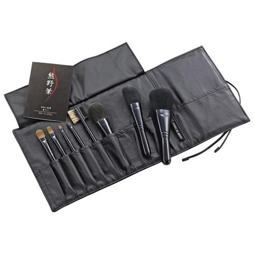 熊野化粧筆セット 筆の心 ブラシ専用本革ケース付き M81316717(代引不可)【送料無料】