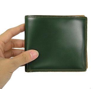 革の宝石コードバン 二つ折財布 小銭入れなし ブラック【送料無料】