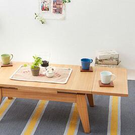 ローテーブル 伸縮 天然木エクステンション リビングローテーブル 【Palette】パレット (W120-180)(代引不可)【送料無料】