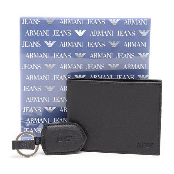 アルマーニジーンズ ARMANI JEANS【937502CC99200020】NERO 二つ折り財布・キーリングセット【送料無料】
