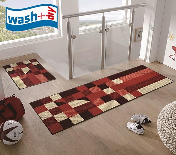 キッチンマット wash+dry J001C Lumina reddish 60×180cm 柄物 おしゃれ 滑り止めラバーつき(代引不可)【送料無料】