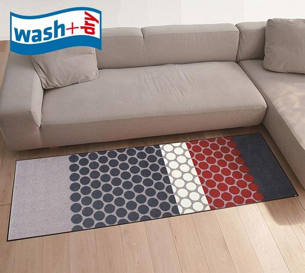 キッチンマット wash+dry J008C Mixed Dots grey 60×180cm 柄物 おしゃれ 滑り止めラバーつき(代引不可)【送料無料】