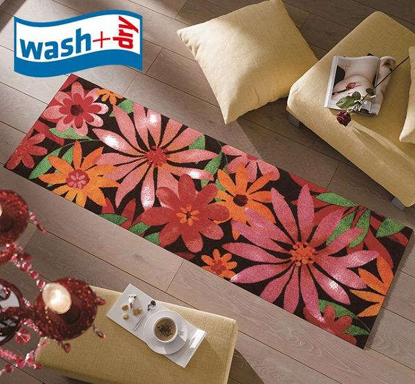 キッチンマット wash+dry K006C Blumello 60×180cm 柄物 おしゃれ 滑り止めラバーつき(代引不可)【送料無料】