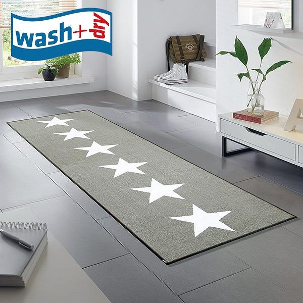 キッチンマット wash+dry C021C Stars sand 60×180cm 柄物 おしゃれ 滑り止めラバーつき(代引不可)【送料無料】