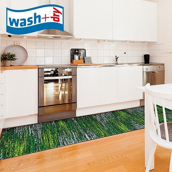 キッチンマット wash+dry D021F Scratchy green 60×260cm 柄物 おしゃれ 滑り止めラバーつき(代引不可)【送料無料】