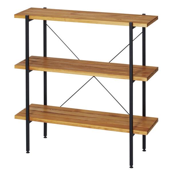 オイルステインラック 3段 幅90cm ラック オープンラック 収納棚 本棚 木製 スチールラック シェルフ 家具 マガジンラック