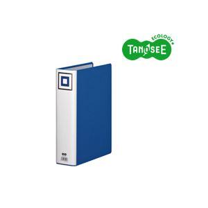 (まとめ)TANOSEE 両開きパイプ式ファイルV A4タテ 60mmとじ 青 30冊