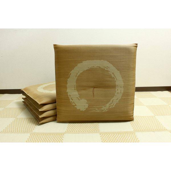 純国産 捺染返し い草座布団 『大関 5枚組』 ブラウン 約55×55cm×5P