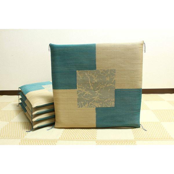純国産 捺染返し い草座布団 『草美(くさび) 5枚組』 ブルー 約55×55cm×5P