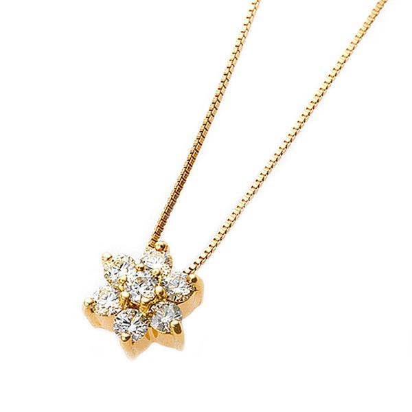 【鑑別書付】K18イエローゴールド 天然ダイヤモンドネックレス ダイヤ0.2ctネックレス フラワーモチーフ