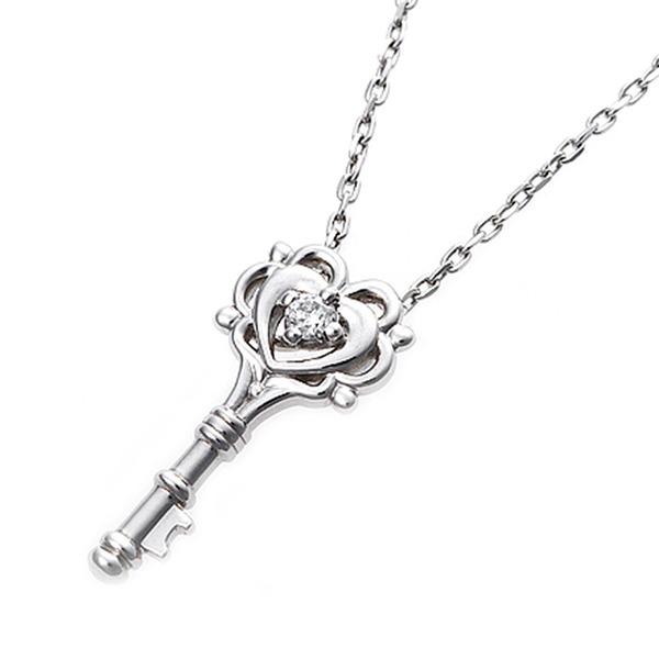 【鑑別書付】プラチナPT900 天然ダイヤモンドネックレス ダイヤ0.014ctネックレス キーモチーフ