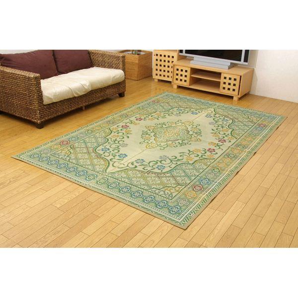 純国産 い草花ござカーペット 『アシック』 グリーン 江戸間8畳(約348×352cm)