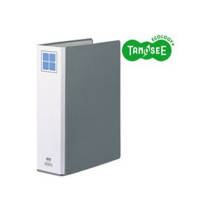 (まとめ)TANOSEE 両開きパイプ式ファイルE A4タテ 60mmとじ グレー 30冊