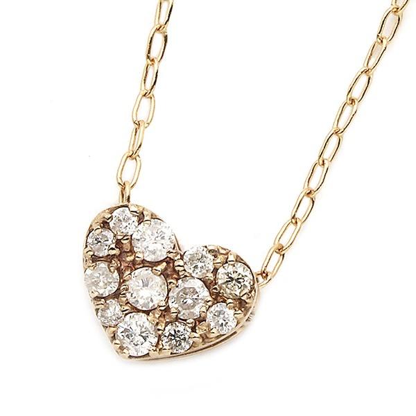 K18ピンクゴールド ダイヤモンドネックレス 0.15CT ハートダイヤパヴェネックレス
