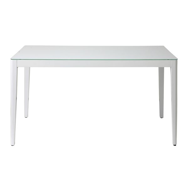 あずま工芸 ダイニングテーブル 幅135cmガラス天板 ホワイト【2梱包】 GDT-7671