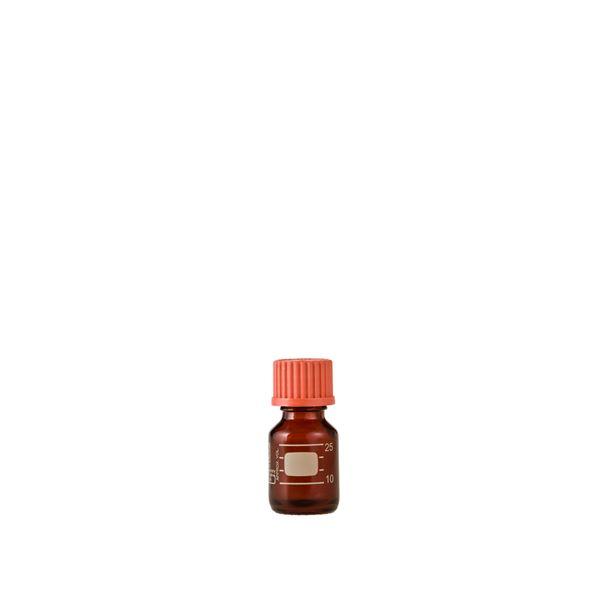 【柴田科学】ねじ口びん(メジュームびん) 茶褐色 赤キャップ付 25mL【10個】