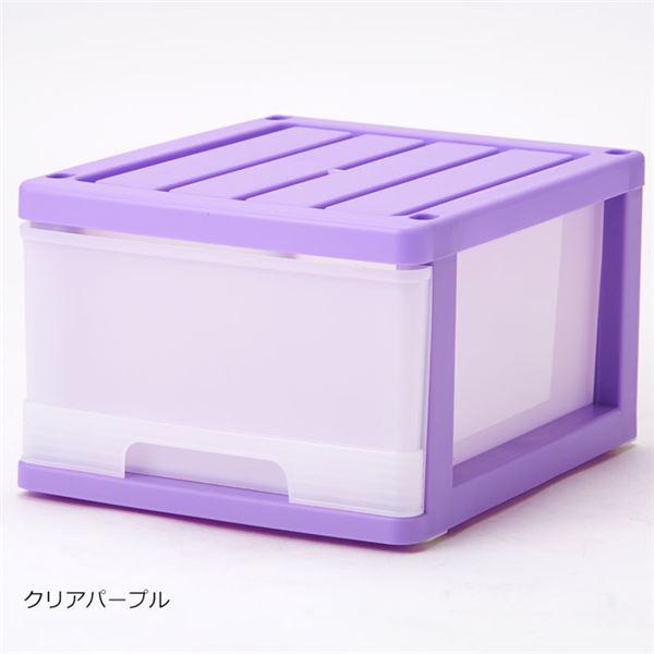 深型 収納ケース/キッチン収納 【12個組 クリアパープル】 幅34.5cm スタッキング可 プラスチック 日本製