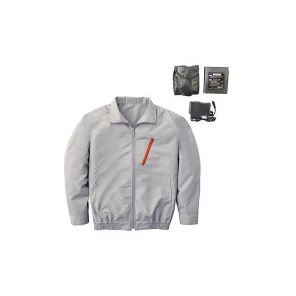 空調服 ポリエステル製長袖ブルゾン P-500BN 【カラー:シルバー サイズ:M】 リチウムバッテリーセット